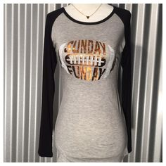 Sunday Funday Size Medium-Sunday Funday raglan shirt. True to size. Available in Small, Medium, Large. Price is firm, unless bundledNo Trades Tops Tees - Long Sleeve