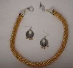 Gold color kumihimo bead braided necklace and by FranksStudio, $37.00