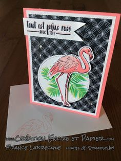 Stampin'Up!  Carte Amitié et Anniversaire  Friendship - Birthday Card  Étampes Fabuleux Flamant  Fabulous Flamingo Stamp Set  www.creationencreetpapier.com