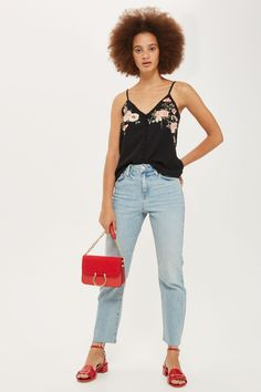 Floral Embroidered Button Camisole Top