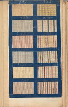 The Met - Textile Sample Book, 1771 - multiple plates showing various fabrics from a textile sample book in 1771 - checks, stripes, etc. - click through for more.