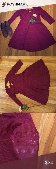 Burgundy lace 3/4 sleeved dress Beautiful burgundy lace dress with cool bow-like details on the back. It has a skip. July in and sleeves are sheer. So lovely and perfect for fall!💕 Dresses