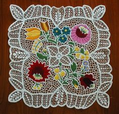 Vintage Kalocsa Hungarian Embroidery Lace (I made one of these in Hungary, still have it)