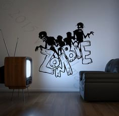 Zombie wall decal Halloween wall decal monster by ValdonImages #halloweendecor #Halloweenparty