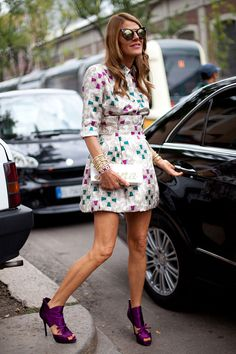 STREET STYLE SPRING 2013: MILAN FW - Purple platforms make the look on Anna Dello Russo.