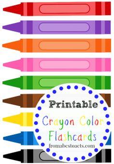 Printable Crayon Color Flashcards for Kids