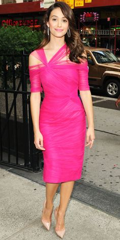 Emmy Rossum in Monique Lhullier pink dress and Chopard