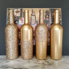 Set of 12 - Metallic GLITTER Sparkling Wedding Bridal Party Centerpiece Wine Bottle or Home Holiday decor Gold, Silver, Champagne, Rose Gold Glitter Wine Bottles, Wine Bottle Art, Wine Bottle Crafts, Wine Bottle Centerpieces, Party Centerpieces, Sparkle Wedding, Bottle Painting, Wine Gifts, Etsy