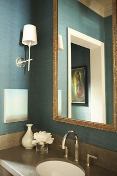 sconces on adjoining walls + grasscloth. Traditional bathroom by Tim Barber LTD Architecture & Interior Design Bryant sconce Powder Room Wallpaper, Bathroom Wallpaper, Textured Wallpaper, Seagrass Wallpaper, Fabric Wallpaper, Foyer Wallpaper, Aqua Wallpaper, Trendy Wallpaper, Decoration Home