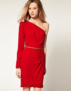 Warehouse Belted One Sleeved Dress, $89