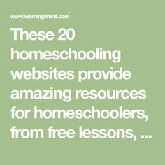 These 20 homeschooling websites provide amazing resources for homeschoolers, from free lessons, to educational videos, experiments, games and activities. Educational Videos, Educational Activities, Learning Resources, Educational Technology, Teacher Resources, Interactive Activities, Science Activities, Online Lessons, Free Math