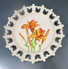 Norcrest Fine China Hand Painted Day Lily Plate Fleur de Lis Lacy Edge