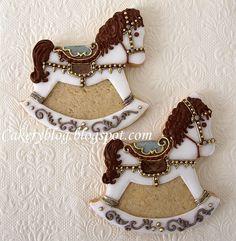 Carousel-Rocking-Horse cookies by PiaMarianne. /So very pretty EL. Cookies For Kids, Fancy Cookies, Iced Cookies, Cute Cookies, Brownie Cookies, Royal Icing Cookies, Cupcake Cookies, Cupcakes, Sugar Cookies
