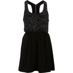**Sequin Skater Dress by Oh My Love ($26) ❤ liked on Polyvore featuring dresses, vestidos, robes, short dresses, black, skater dress, zipper mini dress, oh my love dress, zip dress and sequin racerback dress