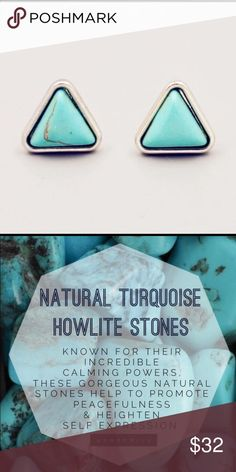 Turquoise Silver Triangle Earrings Love these simple turquoise triangles from @shopwila! Materials include: alloy metals and turquoise howlite stone. 💎 WILA Jewelry Earrings