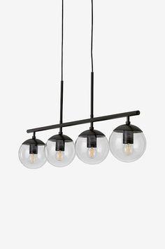 Taklampe i pulverlakkert metall med fire lampeholdere som har avtagbare kupler i klart glass, Ø 15 cm. Lampens lengde 100 cm, høyde ca. 30 cm. Svart plastledning, lengde 120 cm (justerbar lengde). Svart takkopp i metall. Stor sokkel E27. Maks 25 W.  Lyspærer inngår ikke. Ulike typer pærer kan ha stor påvirkning på lampens stil og utseende. Prøv deg fram til ditt eget uttrykk!  Jordet  Takkontakt er ikke inkludert på grunn av nytt EU-direktiv. De kan bestilles separat. Lassi, Living Room Interior, Chandelier, Ceiling Lights, Lighting, Home Decor, Interiors, Trends, Pedestal