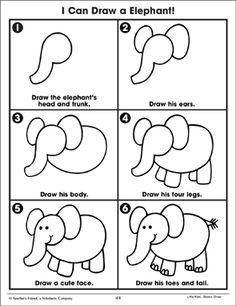 Little Kids . Drawing Lessons For Kids, Easy Drawings For Kids, Art Lessons, Art For Kids, Drawing Ideas, Elmer The Elephants, Directed Drawing, Step By Step Drawing, Animal Drawings