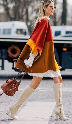 Cape On Feminine Dress Outfit Idea - love this #chic #streetstyle #fashion