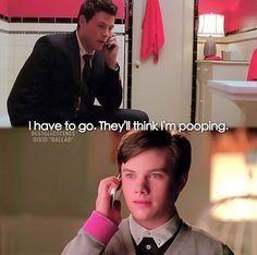 "Glee Finn ""I have to go. They'll think I'm pooping."" Hahahahaha"
