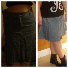 DIY From boring denim skirt to funky mini skirt. Fra kedelig lang jeansnederdel til smart kort nederdel. www.solomors-univers.blogspot.com