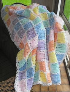 Pastel Diamond Block Baby Afghan.