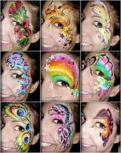 Simple face painting designs are not hard. Many people think that in order to have a great face painting creation, they have to use complex designs, rather then Eye Face Painting, Adult Face Painting, Face Paint Makeup, Face Painting Designs, Painting For Kids, Paint Designs, Makeup Art, Eye Makeup, Face Paintings