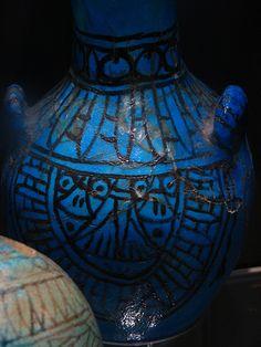 Egyptian cobalt blue glaze pot