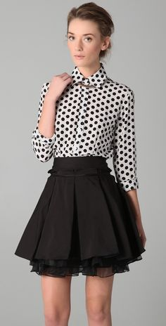 Polkadots. Want! boobs are normally too big for button ups tho