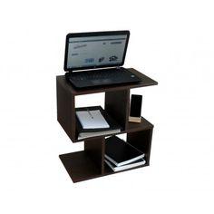 Mesa auxiliar fabricada en melamina color wengue. Diseño muy original. Lo encontrarás en www.lafabricadeladecoracion.com