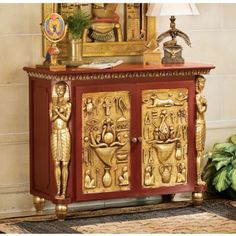 XoticBrands Classic Egyptian Palace of Ramses Egyptian Console Table/Hallway Table Egyptian Furniture, Egyptian Home Decor, Decorating Your Home, Interior Decorating, Interior Design, Decorating Ideas, Golden Decor, Classic Furniture, Unique Furniture