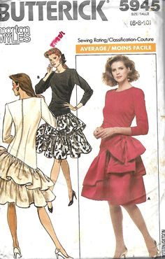 bfe20ee59 Butterick 5945 Misses/Miss Petite Asymmetrical Waist Dress Pattern, Tiered  Skirt, Special Ocassion, Size 6-8-10, UNCUT