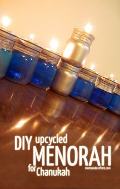 DIY Upcycled Chanukah Menorah (for hanukkah) made from upcycled baby food jars! This is a stunning and easy project for the winter holidays