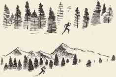 Man running through the forest by grop on @creativemarket
