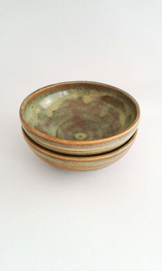 Bronze and Green Ceramic Bowl Snack/Desert by PotsAboutPottery