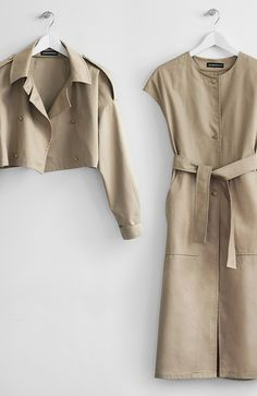 Two-piece Nude Trench Coat - Somemoment - Womens Clothing