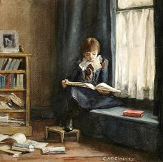 """Girl Reading by a Window"", C. McChesney,  1900   /   BL"