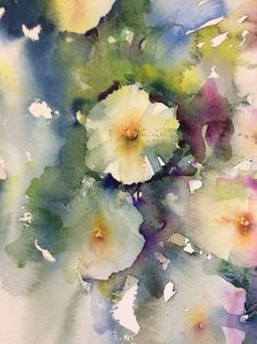 """""""Close up of a section from my large painting of white petunia in watercolour WIP Watercolor Negative Painting, Abstract Watercolor, Watercolor And Ink, Watercolor Flowers, Art Floral, Illustration Blume, Abstract Flowers, Flower Art, Daffodils"""