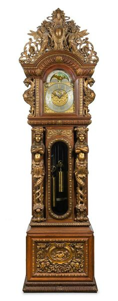 A Monumental Victorian Carved Oak Eight-Tube Case Clock  case attributed to r.j. horner, movement by Joseph Jennens, London, late 19th century.