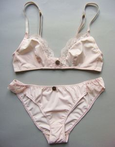 Bralette & Pantie Knicker Set In Blush Pink Jersey and French Lace From 28 Back