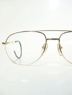a399b007dbb Vintage Mens Wire Rim Aviator Eyeglasses Gold Golden Shiny 1970s 70s  Seventies Oversized Huge Sunglasses Sunnies Retro Deadstock Guys