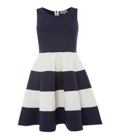 Blue and white stripe skater dress