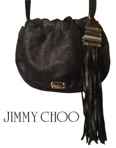 Jimmy Choo Authentic Drawstring Satin Leather Crossbody Evening Bag in Black Leather Crossbody, Leather Backpack, Jimmy Choo, Hermes Birkin, Evening Bags, Fashion Backpack, Wallets, Satin, Glamour