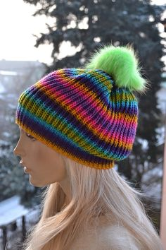 Knitted multicolor  cap / hat green fur pompom by DosiakStyle ♡ ♡