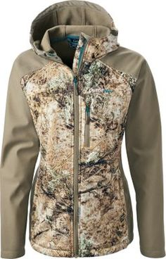The ultimate windproof, cool-weather fleece for women. Specifically cut to fit female hunters, the Women's OutfitHER WindShear Hooded Jacket, with three layers of lamination, keeps you warm during hunts in inclement weather.