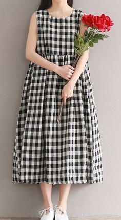 Women loose fitting over plus size black white plaid dress long maxi tunic chic #Unbranded #dress #Casual