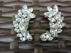 Items similar to Jay Flex Swarovski Sterling Clear Crystal Clip On Earrings Vintage Gustave Sherman on Etsy Vintage Earrings, Clip On Earrings, Fashion Patterns, Austrian Crystal, Clear Crystal, Gifts For Him, Jay, Vintage Items, Swarovski