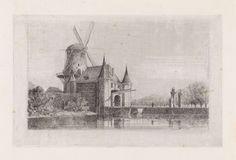 Gijsbertus Johannes Verspuy | Kleiwegpoort te Gouda, Gijsbertus Johannes Verspuy, 1833 - 1862 | Gezicht op de Kleiwegpoort te Gouda met erachter een molen.