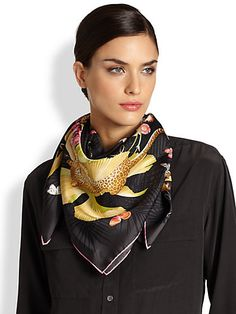 Classy And Fab, Silk Neck Scarf, Costumes Around The World, Ways To Wear A Scarf, Jungle Print, Head And Neck, Neck Scarves, Scarf Styles, Salvatore Ferragamo