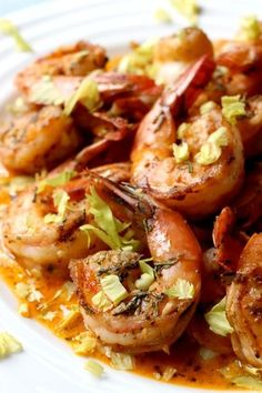 This shrimp is simmered in spicy, creamy sauce. Get a big hunk of bread to soak it all up!