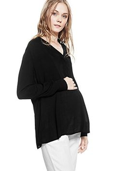 Luciana Maternity Blouse Shirt Top Long Sleeve Vneck Pregnancy Nothing But Love 2 black * Read more  at the image link.Note:It is affiliate link to Amazon.
